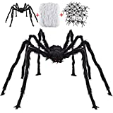 Halloween Decorations Outdoor with 6.6 Ft Giant Spider Scary Hairy Spider, 400sqft Fake Spider Web, 20 Black Plastic Spiders Props for Outside Indoor House Yard Halloween Decor Party Favor, 3 Pack