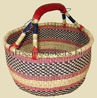 Bolga Baskets International Extra Large Market Basket w/ Leather Wrapped Handle (Colors Vary)