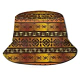Photo de out Unisexe Respirant Chapeau de Seau Bobs African Indigenous Motifs Summer Fisherman Cap Wide Brim UV Protection for Women Men Boys Girls