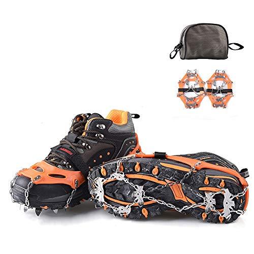 FANGHUA Schuhspikes Schuhkrallen Steigeisen mit 13 Edelstahlspikes, Spikes für Schuhe EIS Schnee Trekkingschuhe Wanderhalbschuhe