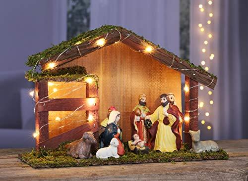 Kamaca Beleuchtete KRIPPE WEIHNACHTSKRIPPE mit 11 Figuren Krippe aus Holz handveredelt mit Moos verziert Winter Advent Weihnachten (XL LED Krippe 30x10x20 cm mit 9 Figuren)