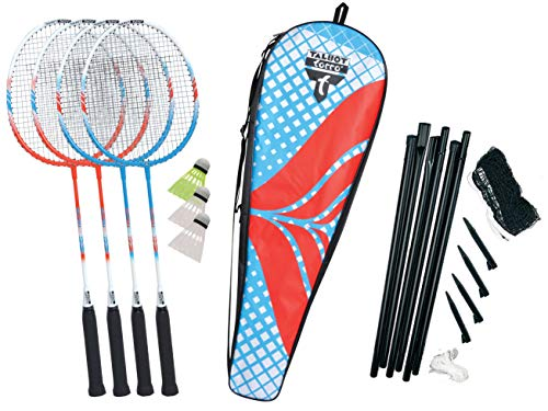 Talbot-Torro Premium Badminton-Set 4-Fighter, hochwertiges Komplettset mit 4 Alu-Schläger leicht und handlich, 3 Federbälle, komplette Netzgarnitur, in wertiger Tasche, verschiedene Farben wählbar