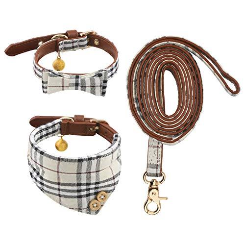 HACRAHO Ensemble collier et laisse pour chien, 3 pièces réglables Nœud papillon bandana avec clochette pour les promenades en plein air pour chats et chiots