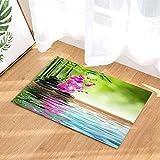 EdCott Alfombras baño SPA japonés Flor orquídea con Piedras bambú con Elementos Feng Shui para tapete Ducha Zen 15.7X23.6in Alfombrilla para decoración del hogar Alfombra Piso baño