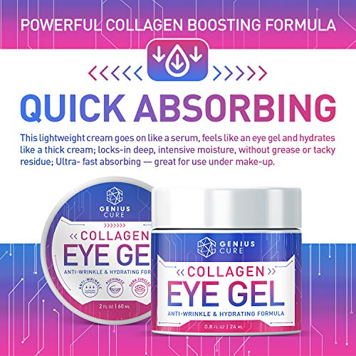 51ISw6+mdcL - Collagen Eye Gel, Under Eye Gel Treatment for Reducing Dark Circles, Moisturizing, Targets Wrinkles Anti-Aging, Fine Lines, Eye Bags, Puffiness for Women Men 2oz