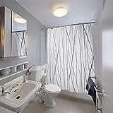 SueH Design Duschvorhang aus Polyester mit Haken, Mehltauresistent, Wasserabweisend & Umweltfre&lich - Schwarze und Graue Kurve