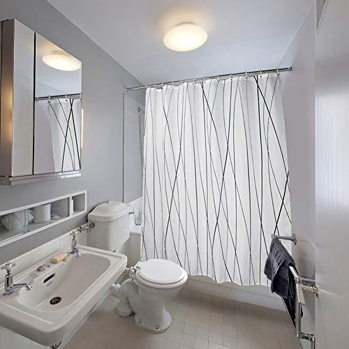 SueH Design Duschvorhang aus Polyester mit Haken, Mehltauresistent, Wasserabweisend und Umweltfreundlich - Schwarze & Graue Kurve