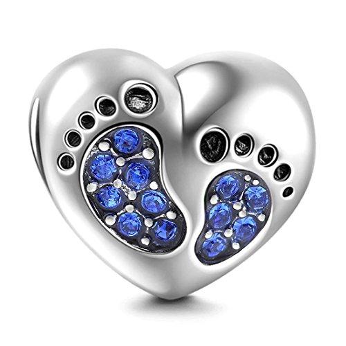 Abalorio de plata de ley 925 con forma de corazón y pie de bebé, para cumpleaños, con piedra natal, dije de corazón para pulsera Pandora (azul)
