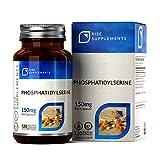 Fosfatidilserina [20%] 150 mg (da soia) | 120 capsule vegane | Prodotta nel Regno Unito - Senza OGM || Rise Supplements
