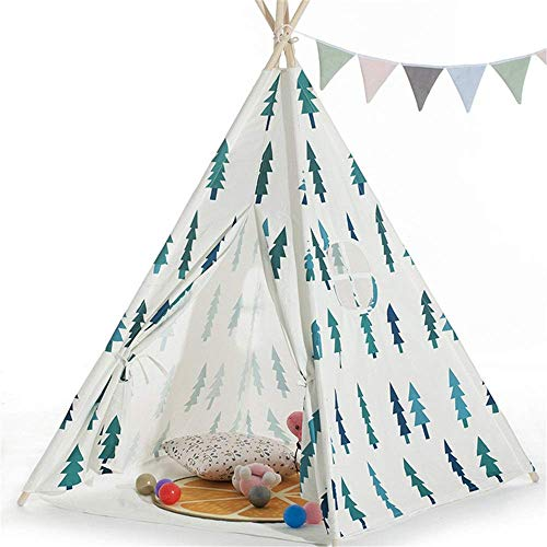 MLL Play Tent for kids indoor Foldable Cotton Canvas Teepee Tent Room Decoration Small Tree Print 4 Pole Indian Tent With Carry Bag Window For Girls Boys Babies kids play tent for girls