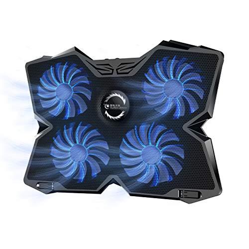 TKOOFN Base de Refrigeración Gaming (Hasta 17 Pulgadas), Ultra Silencioso Enfriador Soporte para Portátiles y Netbooks con 4 Ventiladores + 2 Puertos USB + Velocidad del Ventilador Ajustable