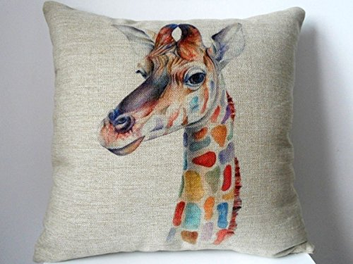 Kissenbezug aus Baumwolle/Leinen, 45x45cm, Motiv Bunte Giraffe