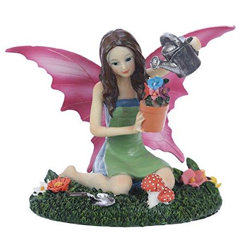 Puckator Figura Hada Aurora-arrose Las Plantas del jardín, poliresina, Beige, Verde, Rosa, marrón, Gris, 17,5x 12x 14cm