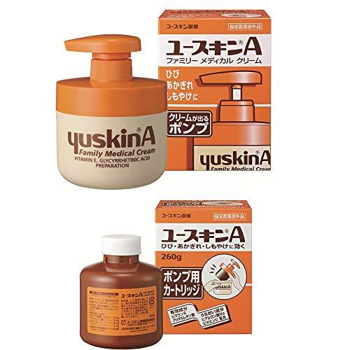 【Amazon.co.jp限定】 【セット品】ユースキンA ポンプ 260g+A ポンプ用カートリッジ クリーム 260g+260g