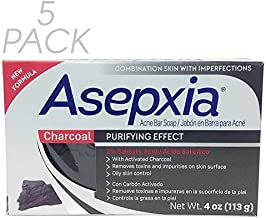 Asepxia Charcoal Purifying Effect Cleansing Bar Soap 4 oz Pack of 5