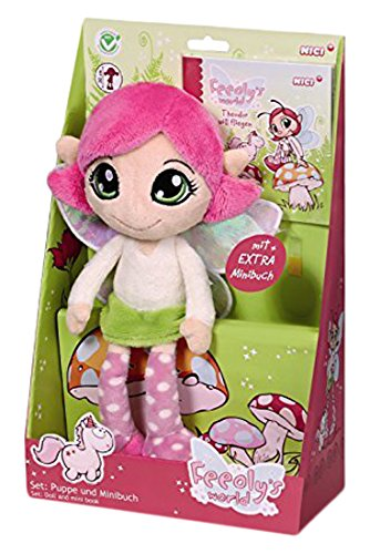 NICI 38055 - Puppe Feeoly Schlenker mit Mini-Buch in Geschenkverpackung, Feeoly's World, 30 cm