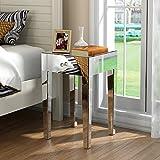 Panana Nachtschrank Glas Kommode MDF Nachttisch mit Kristall Nachtkommode Kommode Schrank 65 x 40 x 40 cm für Schlafzimmer Wohnzimmer