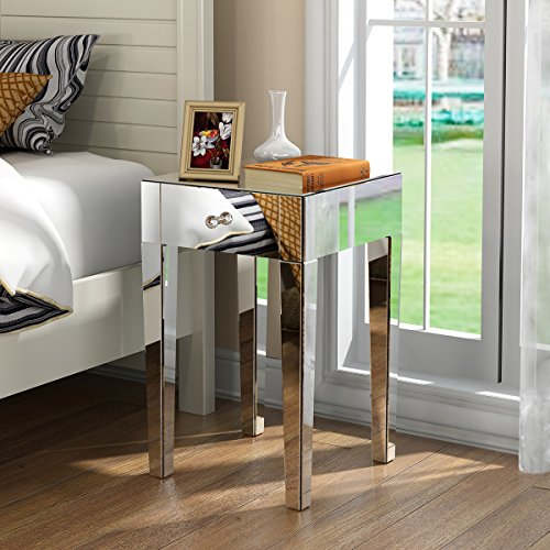 Panana Mirrored Bedside Tables Set of 2 Bedside Cabinets Nightstand Lamp Tables Side End Table Unit with Drawer and Crystal Handle for Bedroom Living Room (Pair of Bedside Table)