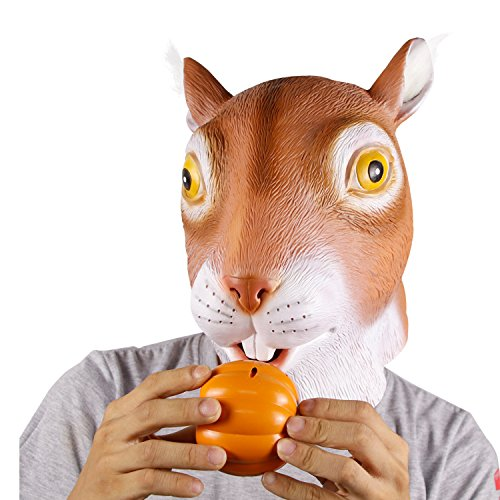 molezu Cute Squirrel Costume Halloween Costumes Party Latex Animal Head Costume for Adult Orange
