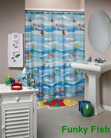 Funky Blue Waves Fish Shower Curtain