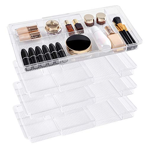 """Oubonun Expandable Drawer Organizer 11.1"""" to 19.2"""" Width, Shallow Cosmetic Organizer 1.3"""" Height, 4 Packs, Clear Plastic Storage Trays with..."""