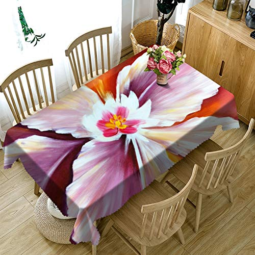 XXDD Mantel 3D, Mantel de Cocina, Comedor, patrón de Flores, decoración para el hogar, Mantel Rectangular para Fiesta, decoración A6, 135x135cm