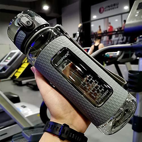 UZSPACE Sport-Wasserflaschen, tragbar, auslaufsicher, große Kapazität, Fitness-Wasserkocher, Tritan-Kunststoff-Trinkflasche, BPA-frei, 700 ml, Grau