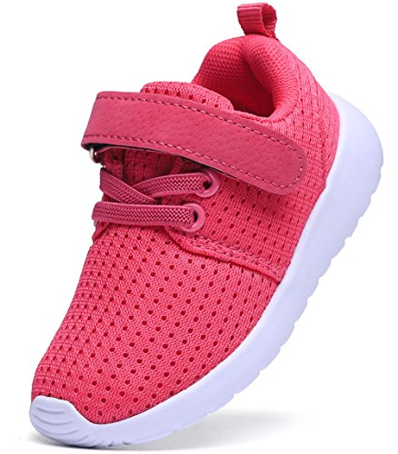 DADAWEN Boy's Girl's Lightweight Breathable Sneakers Strap Athletic Running Shoes Hot Pink US Size 5.5 M Toddler