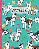 Notebook: Cute Siberian Husky Cartoon & Toys - Lined Notebook, Diary, Track, Log & Journal - Gift Idea for Boys Girls Teens Men Women (8'x10' 120 Pages)