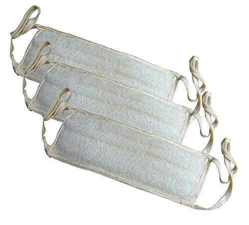 3 Pack 11.5' x 4' (29 x 10cm) Bath Loofah Luffa Loffa Lofa Loofa Mitt Pouf Mesh Long For Back Handled Handle Exfoliating Shower Egyptian Scrubber Sponge 100% Natural Organic SPA Body Luxurious Premium