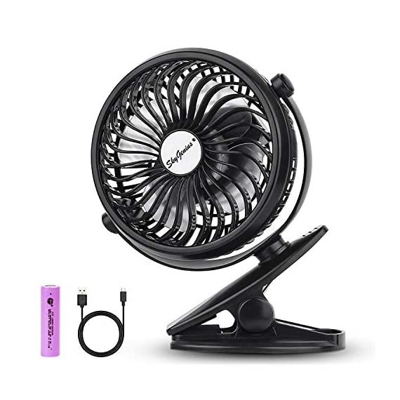 SkyGenius-Battery-Operated-Clip-on-Mini-Desk-Fan-Black