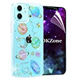 OKZone Compatible with iPhone 12 / iPhone 12 Pro Case (6.1 Inches), [Star Sky Series] Bling Glitter Sparkle Star Design Slim Soft TPU Silicone Skin Cover Anti-scratch Protective Case (Transparent)