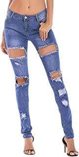 Hole Jeans for Womens Button Ripped Zipper Pocket Trousers Jeans Casual Denim Pants