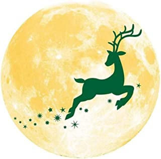 ZKYING Etiqueta de la pared de Navidad fluorescente Luna Fawn Pine Tree Snowman Christmas Home Party Sticker 30X30CM