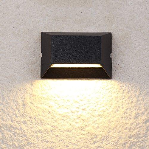 LUMINTURS 6W LED Outdoor/Indoor External Wall Sconces Light Waterproof Fixture Door Gate Step Stair Surface Mount Lamp Black Warm White