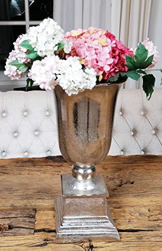 MichaelNoll vaas bloemenvaas pot bokaalvaas decoratieve ovaas aluminium zilver 40 cm