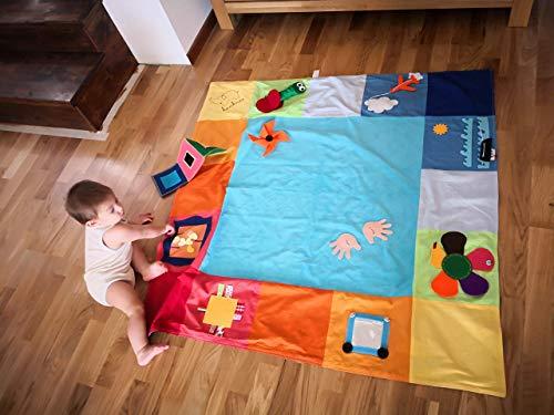 Tantino Activity mat 125x125 cm 100% Sewn , Sensory mat, Busy mat, Montessori mat, Handmade Product, 6 Months babies ,Babies Activity mat, Babies Play mat, Baby Floor mat , New Born, Twins