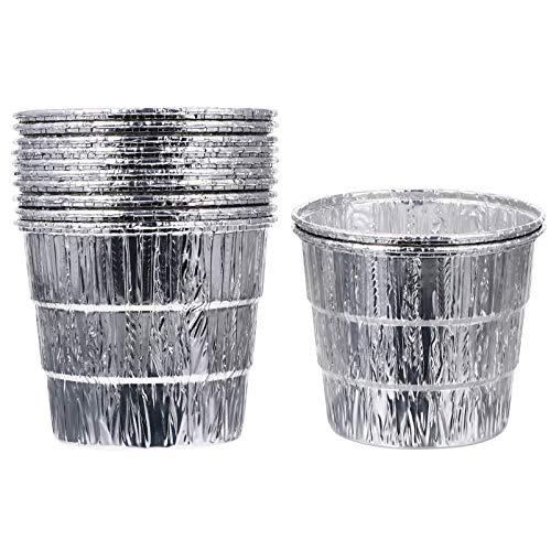 BESTonZON Raucher Grill Fett Eimer Liner für Fang Fett, 12 Stück Aluminium Fetteimer Kits Tropf Fett Eimer Können für Traeger, Pit Bosss, Pelletgrill, Grillzubehör, 12X10. 5Cm