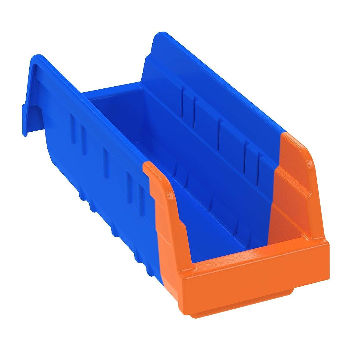 サーフィンストレージブランチakro-mils 36442インジケータ在庫管理ダブルホッパーシェルフBin、11?–?5?/ 8インチ長さ4?–?1?/ 4インチby幅by 4インチ高さ、ブルー/オレンジ、24のケース