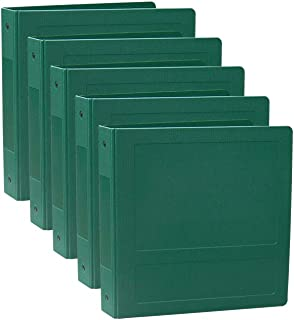 "Omnimed 205007 2"" Side Open Poly Binder, 400 Page Capacity in Assorted Colors (5 Pack) (Forest Green, 5 Ring)"