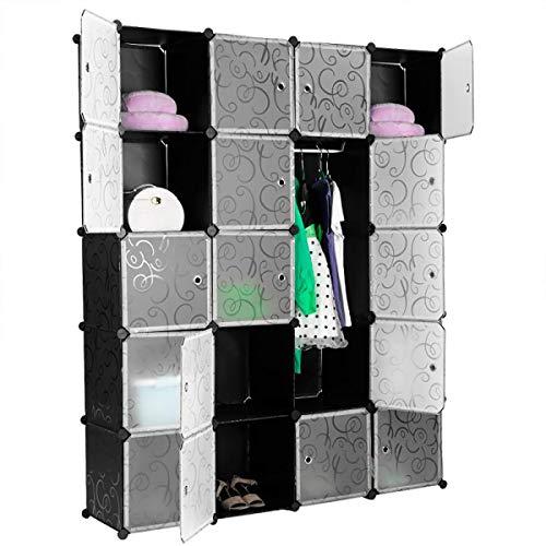 Minmin 20 Cubos Hebilla de Armario Simple Armario de Bricolaje Modular estantería firmemente conectada Conectores de Hebilla de Armario Muebles de Dormitorio,Negro
