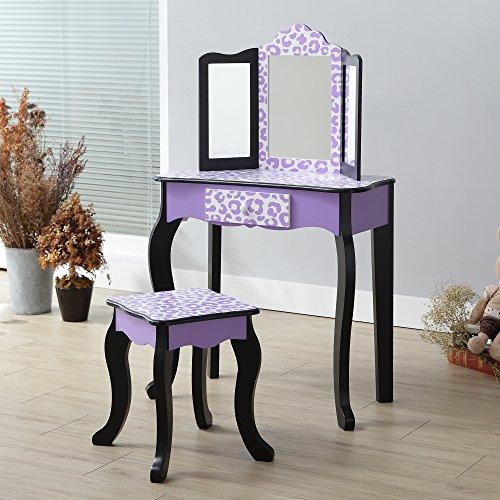 Teamson Kids Pretend Play Kids Vanity Table and Chair Vanity Set with Mirror Makeup Dressing Table with Drawer Fashion Leopard Prints Gisele Play Vanity Set Purple Black