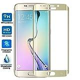 ELECTRÓNICA REY Protector de Pantalla Curvo para Samsung Galaxy S7 Edge, Oro, Cristal Vidrio Templado Premium, 3D / 4D / 5D