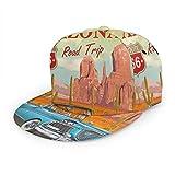Inaayayi Gorra de béisbol Route 66 Vintage Arizona Road Trip Cactus Trucker Sombrero Plaid Gorras de Béisbol para Hombres Mujeres Ajustable Strapback Negro