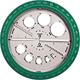 Helix Angle and Circle Maker with Integrated Circle Templates, 360 Degree, 6 Inch / 15cm, Assorted...
