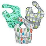 PandaEar 3 Pack Super Light Weight Baby Bib, Waterproof, Washable, Stain Oil and Odor Resistant 5-36...