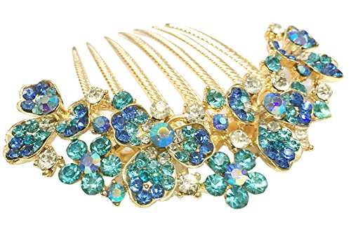 AnVei-Nao Womens Luxury Bohemia Flower Rhinestones Bridal Heavy Hair Combs Accessories Blue