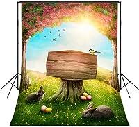 HD 7x10ftエステルの写真の背景の森ウッドの木の鳥Geryのウサギ草カラフルな卵写真の背景メーカープロップカスタマイズされた 1716