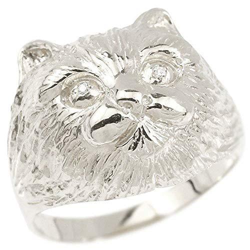 [アトラス]Atrus リング レディース 18金 ホワイトゴールドk18 ダイヤモンド 猫 幅広 指輪 宝石 22号