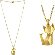 JOE COOL Necklace with A Pendant Origami Fox Made with Tin Alloy
